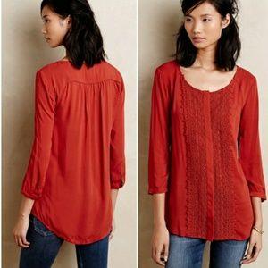 Anthro Maeve Red Orange Button DownShirt